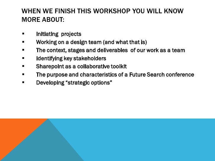 WHEN WE FINISH THIS WORKSHOP YOU WILL KNOWMORE ABOUT:   Initiating projects   Working on a design team (and what that is...