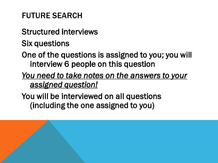 """AGENDA FOR FUTURE SEARCH CONFERENCEArrival and coffeeWelcome and introduction (Karen)""""Future Search"""" InterviewsIndividuals..."""