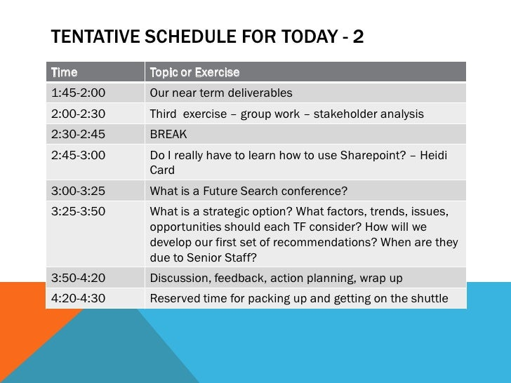 TENTATIVE SCHEDULE FOR TODAY - 2Time        Topic or Exercise1:45-2:00   Our near term deliverables2:00-2:30   Third exerc...