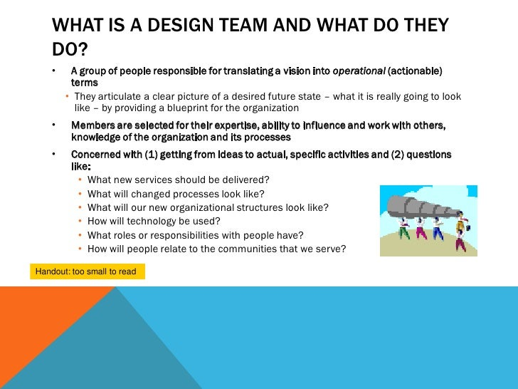 WHAT IS A DESIGN TEAM AND WHAT DO THEY    DO?    •    A group of people responsible for translating a vision into operatio...