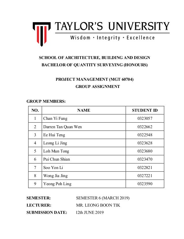 Project Management Group Assignment Final Report
