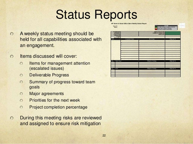 Project Weekly Status Report Template Ppt  MayotteOccasionsCo