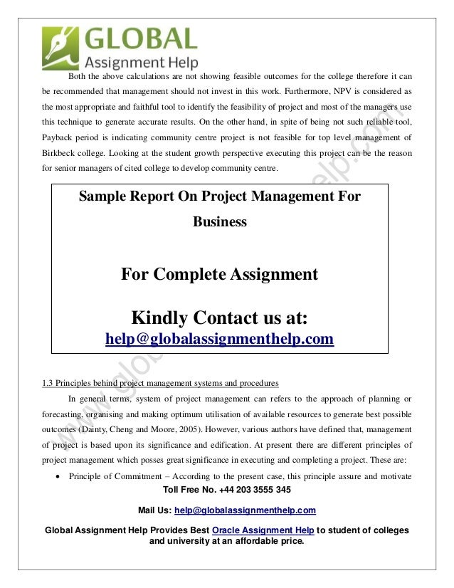 sample report on project management for business by global assignmen 6