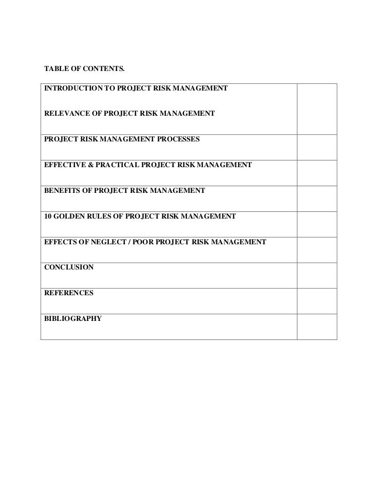 TABLE OF CONTENTS.<br />INTRODUCTION TO PROJECT RISK MANAGEMENTRELEVANCE OF PROJECT RISK MA...