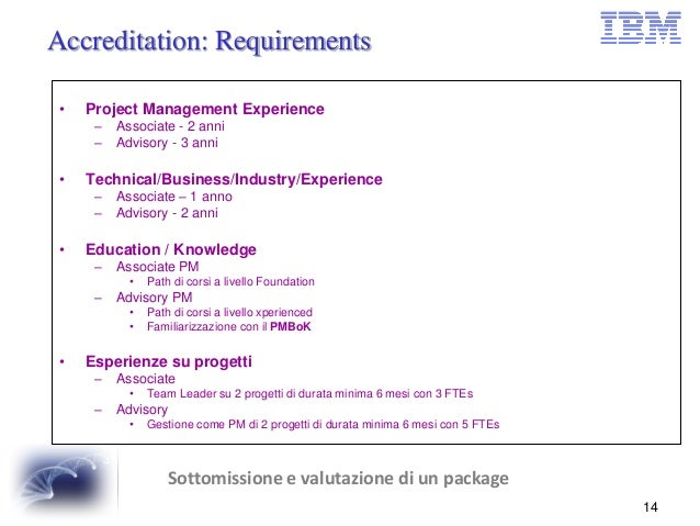 Project Management In IBM EG Lecce - Technical requirements project management