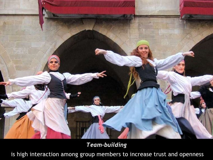 Team-building<br />is high interaction among group members to increase trust and openness<br />
