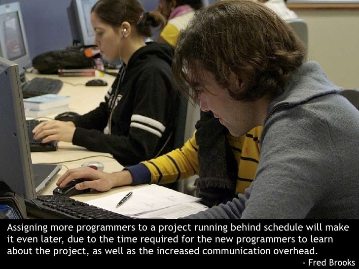 Assigning more programmers to a project running behind schedule will make it even later, due to the time required for the ...