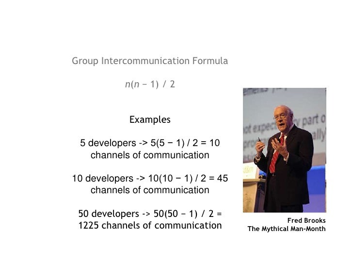 Group Intercommunication Formula<br />n(n − 1) / 2 <br />Examples<br />5 developers -&gt; 5(5 − 1) / 2 = 10 channels of co...