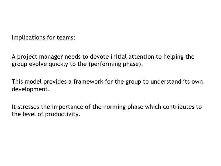Implications for teams:<br />A project manager needs to devote initial attention to helping the group evolve quickly to th...