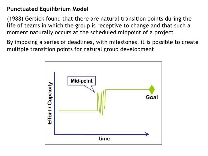 Punctuated Equilibrium Model<br />(1988) Gersick found that there are natural transition points during the life of teams i...