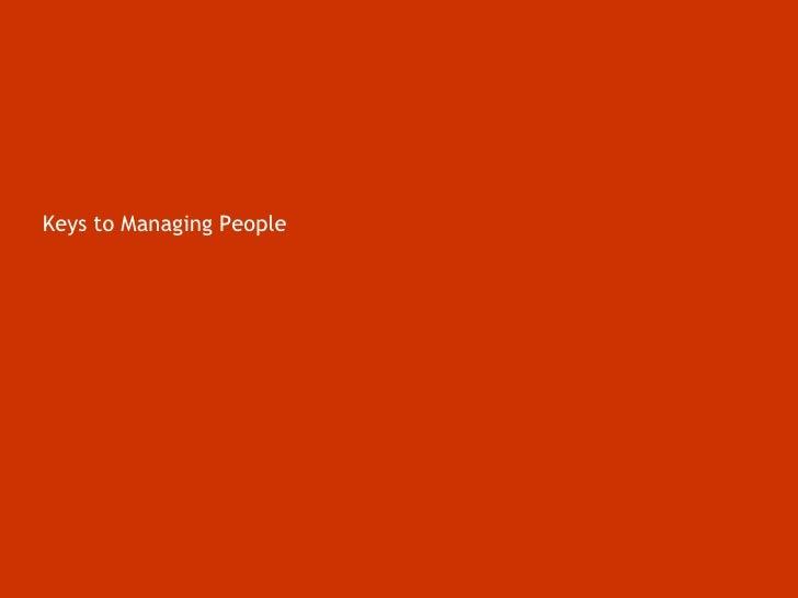 Keys to Managing People<br />