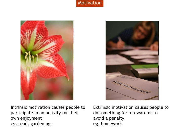 Motivation<br />Intrinsic motivation causes people to participate in an activity for their own enjoyment<br />eg. read, ga...