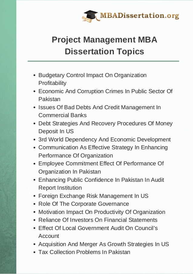 Project Management Dissertation Topics