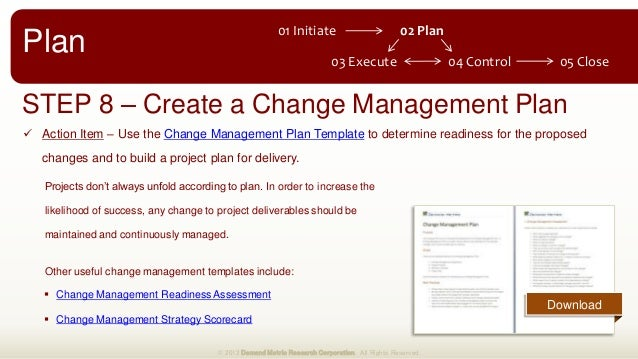 Change Management Plan Project Management One Page Plan For Project