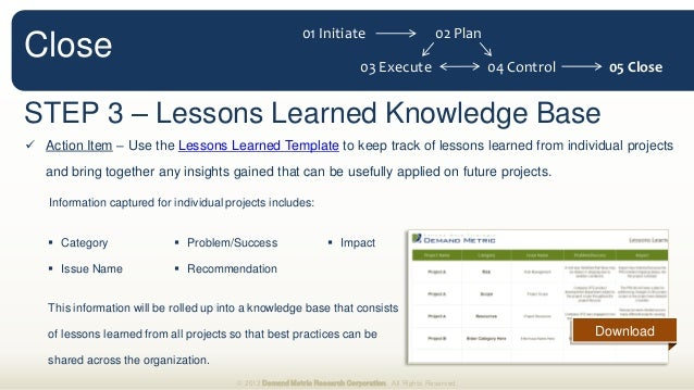 Project management plan methodology for Project management lessons learnt template