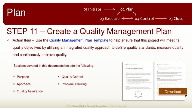 Project management methodology for Quality assurance metrics template