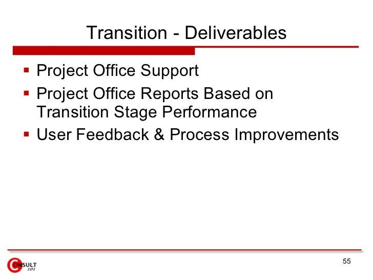 Transition - Deliverables  Project Office Support  Project Office Reports Based on   Transition Stage Performance  User...