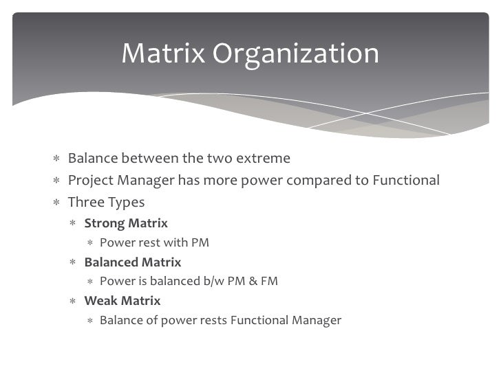 differences between a strong and a weak matrix organization Functional vs projectized vs matrix organizations for pmp exam by the differentiations between funcational organization vs weak matrix and also projectized organization vs projectized and matrix (weak, balanced, strong) organizations: functional weak matrix balanced matrix strong.