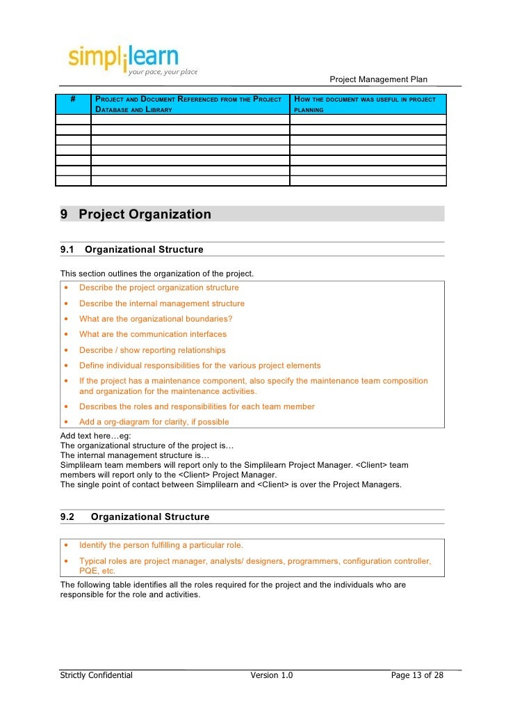 Project Management Plan Template – Point of Contact Template