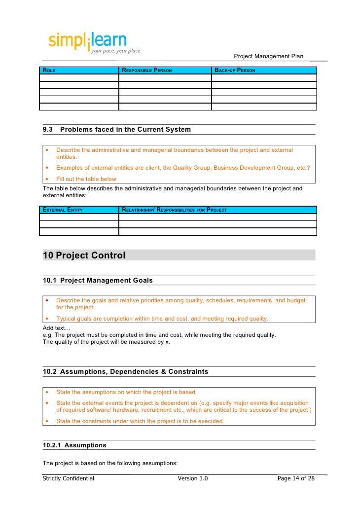 Project management plan template strictly confidential version 10 page 13 of 28 14 project management plan pronofoot35fo Gallery