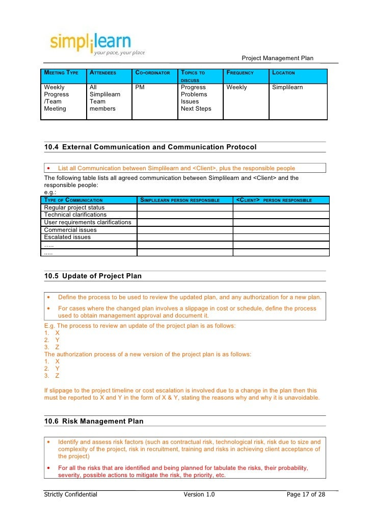 Project management plan template for Client management plan template