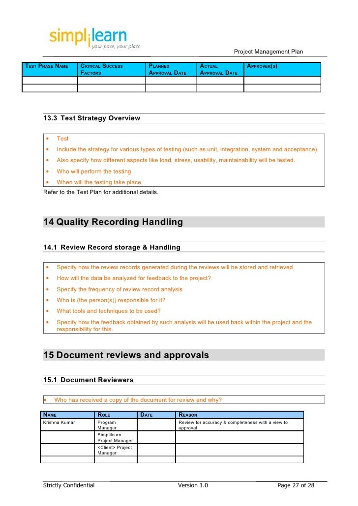 Project Management Plan Template - Project management procedure template