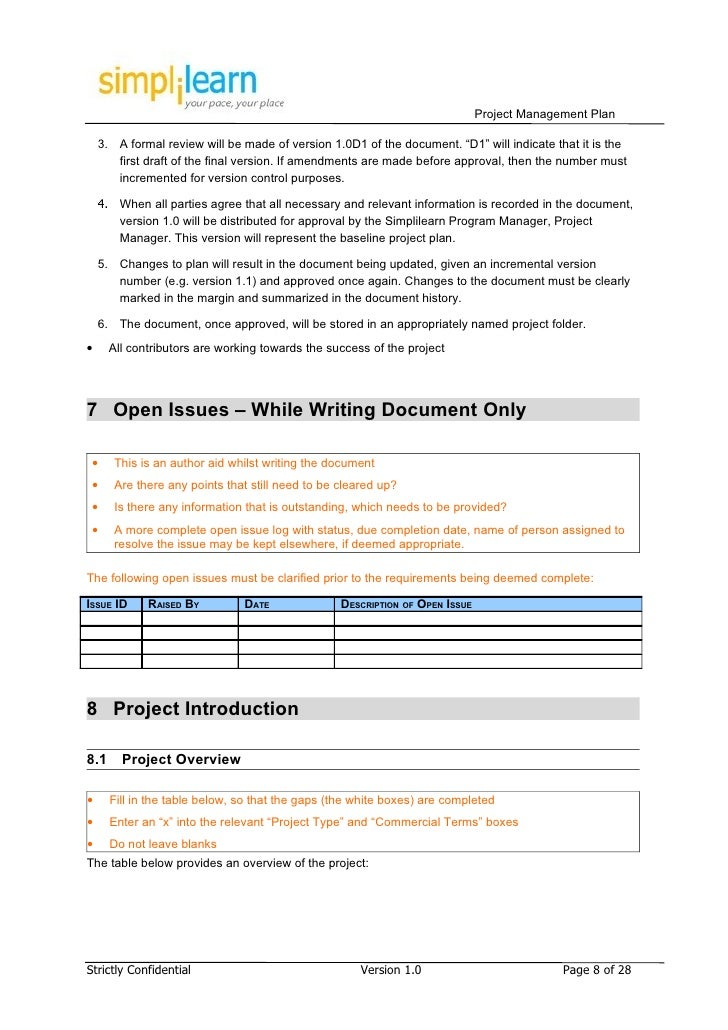 Project Management Plan Template . Project List Template