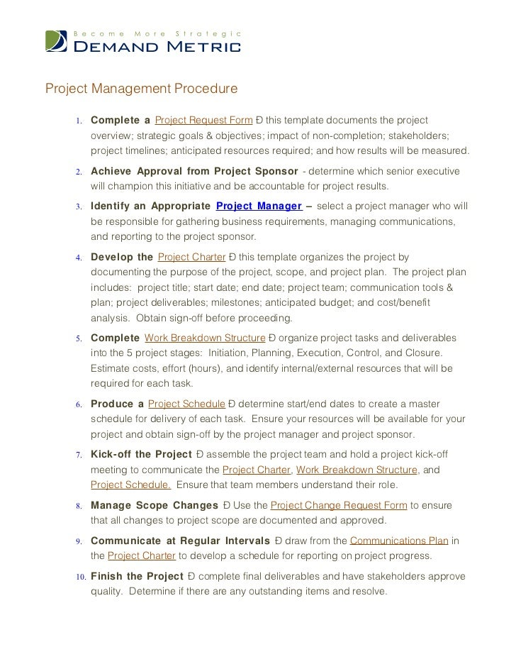 Project Management Policy - Project management procedure template