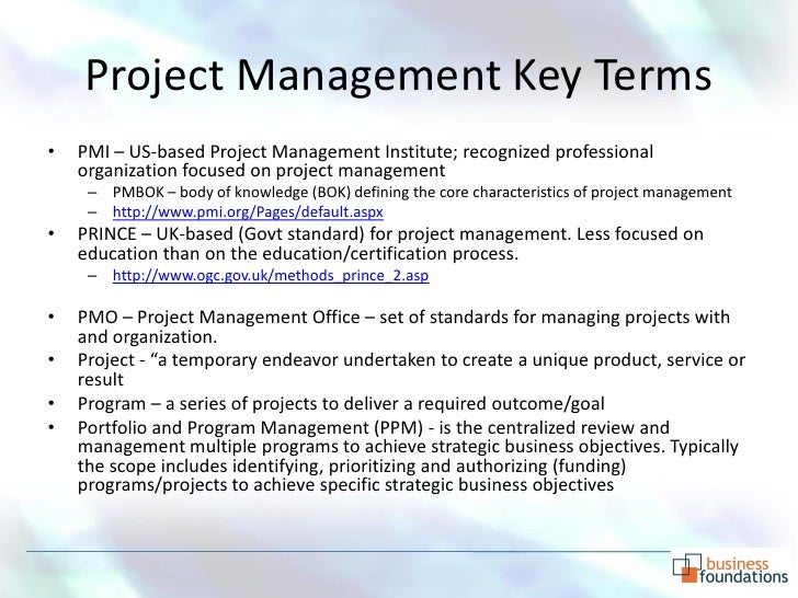 VIII. Project Management Glossary