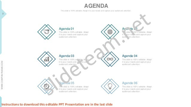 project management status call agenda your company name instructions to download this editable ppt presentation are in the last slide 2