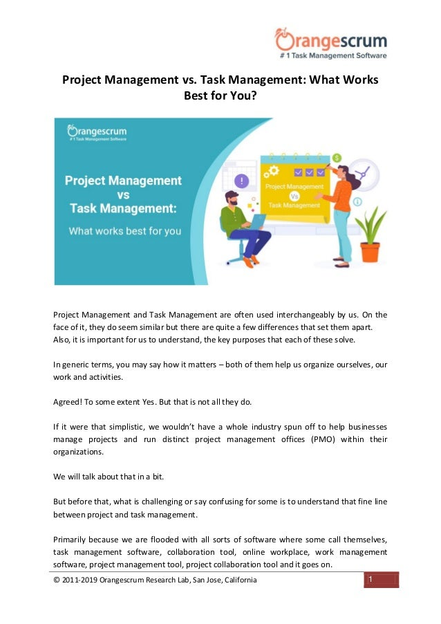 Project Management Vs Task Management What Works Best For You