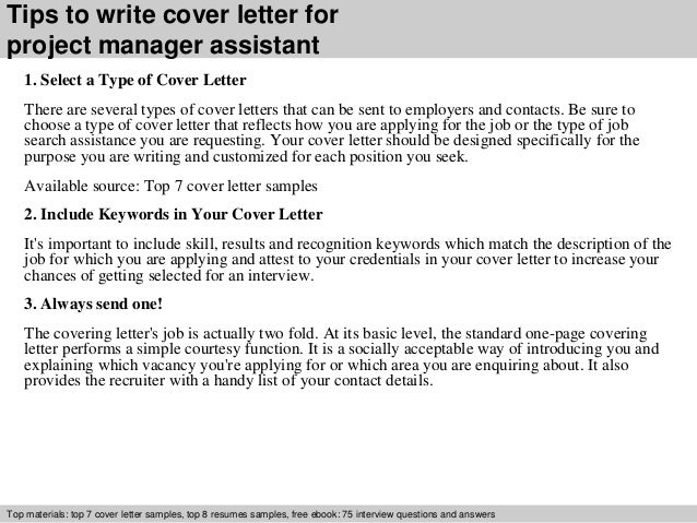 Project manager assistant cover letter for Cover letter for project assistant position