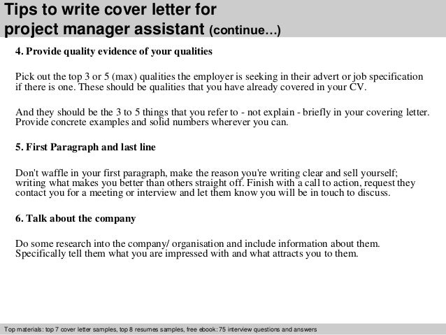 ... 4. Tips To Write Cover Letter For Project Manager Assistant ...
