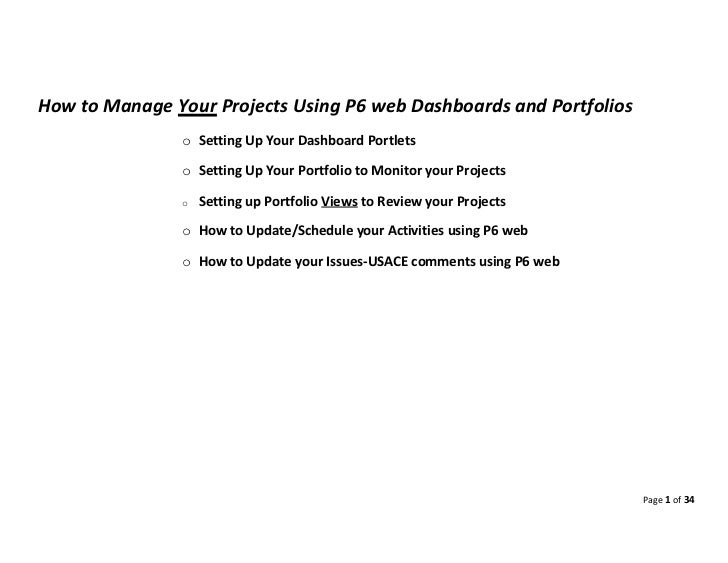 Project Manager Best Use Of P6 Web Using Dashboard And Portfolios To Monitor Their Project