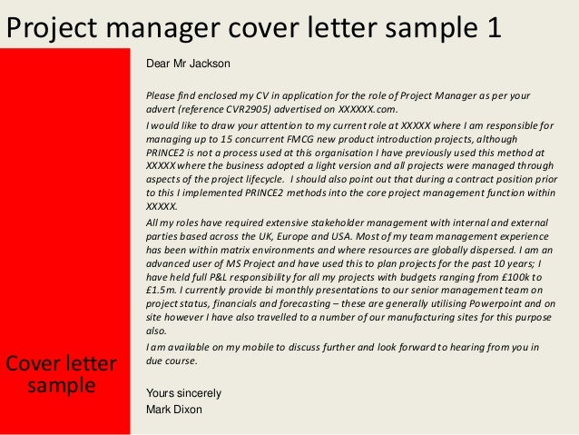 Project Manager Cover Letter .