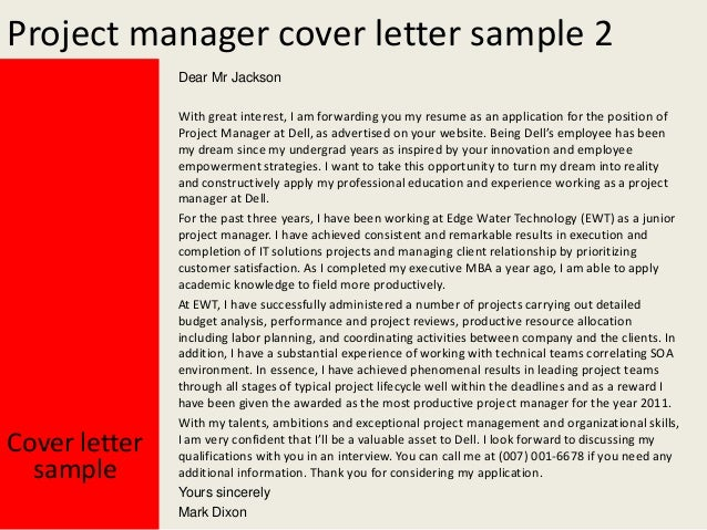 Project Manager Cover Letter ...  Project Management Cover Letter