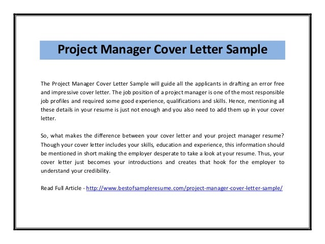 Project Manager Cover Letter Sample ...