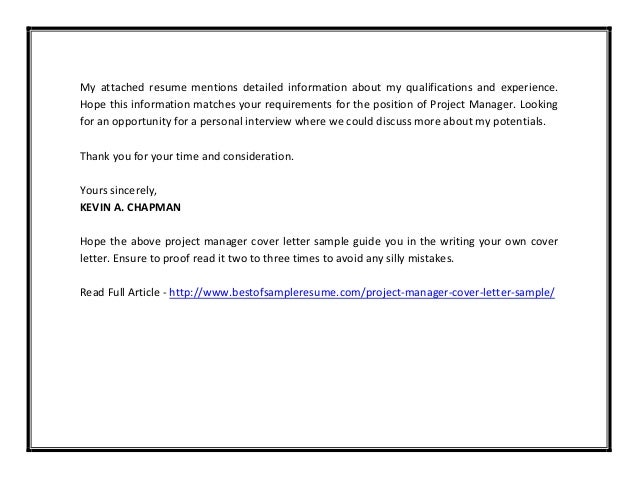 cover letter thank you for your consideration - project manager cover letter sample pdf