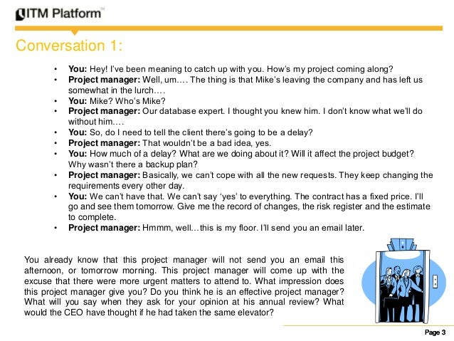 Project Manager Elevator Pitch