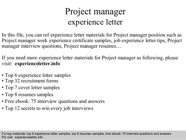 Project Manager Experience Letter