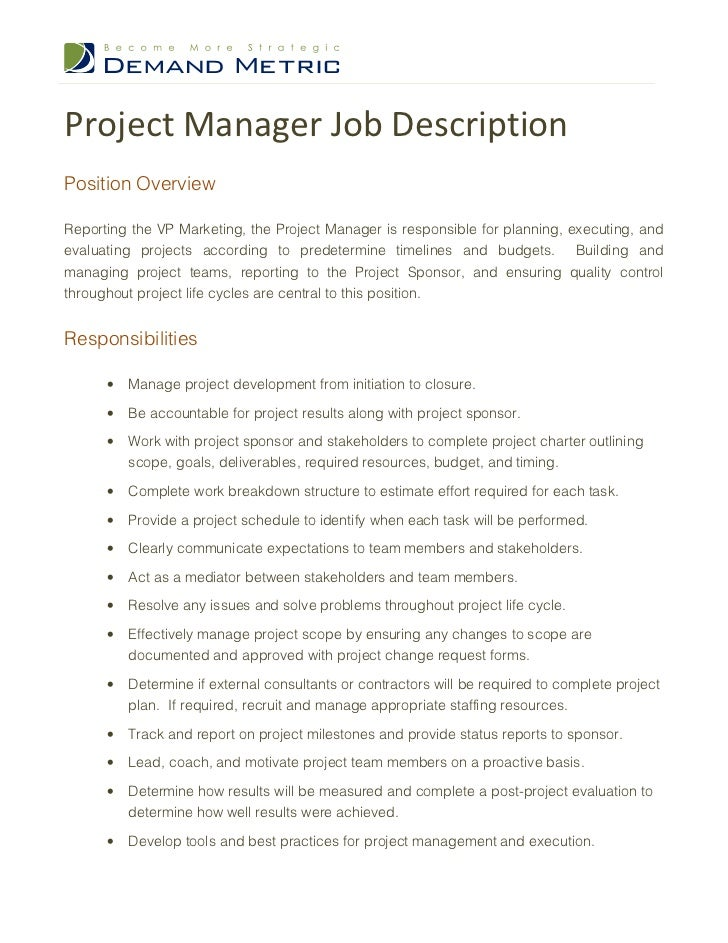 It Project Manager Job Description X Project Manager Job