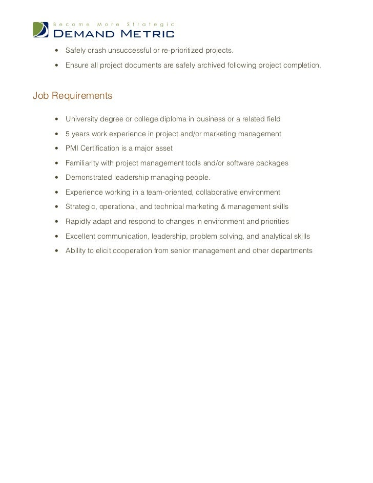 Project Manager Job Description. Key Account Manager Resume