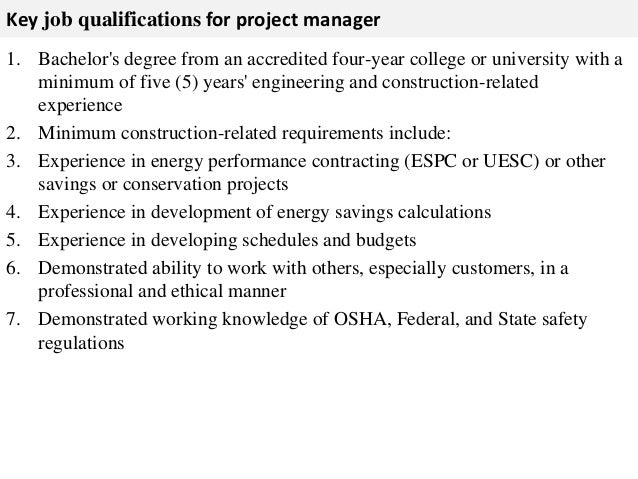 ... Project Timelines; 3. Key Job Qualifications For Project Manager ...