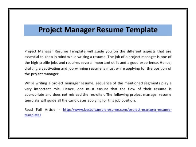 project manager resume template pdf