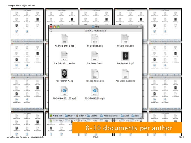 Learning Solutions : Nick@sealworks.com                                                       8-10 documents per authorLau...