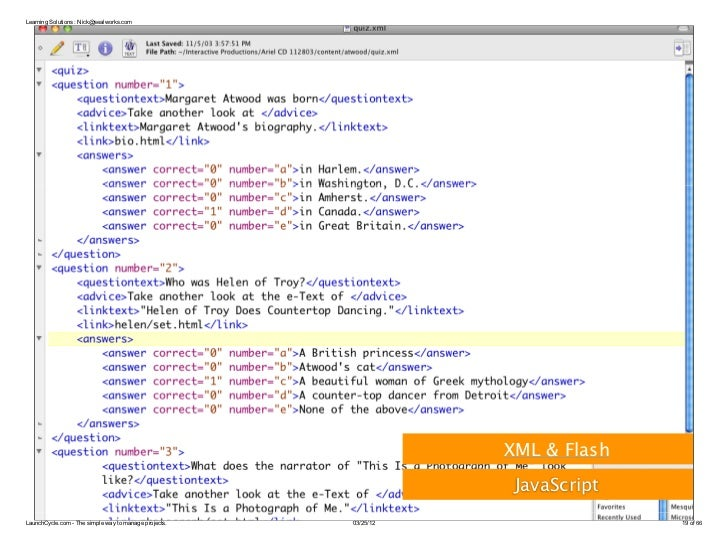 Learning Solutions : Nick@sealworks.com                                                                  XML & Flash      ...