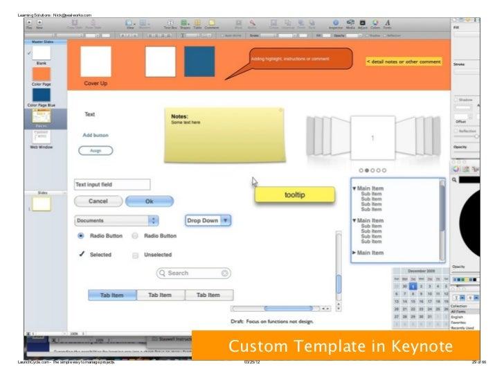 Learning Solutions : Nick@sealworks.com                                                       Custom Template in KeynoteLa...