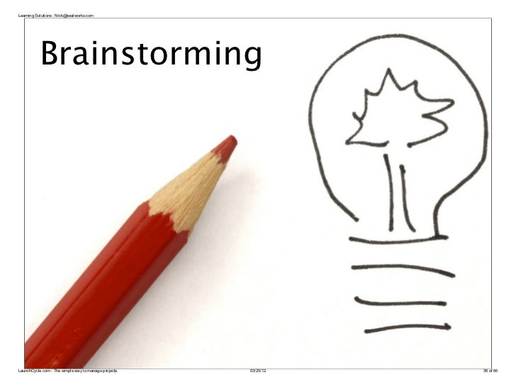 Learning Solutions : Nick@sealworks.com           BrainstormingLaunchCycle.com - The simple way to manage projects.   03/2...