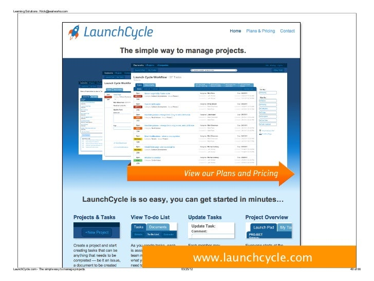 Learning Solutions : Nick@sealworks.com                                                                  www.launchcycle.c...