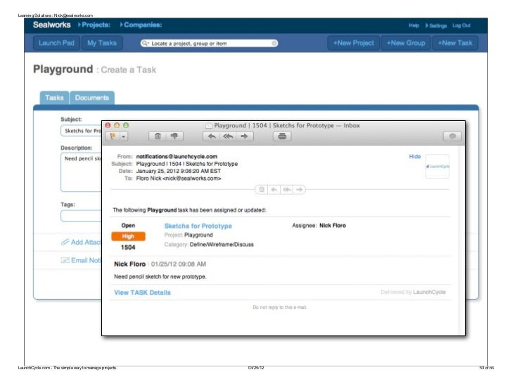 Learning Solutions : Nick@sealworks.comLaunchCycle.com - The simple way to manage projects.   03/25/12   53 of 66